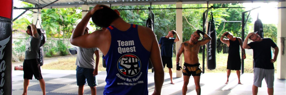 Group training thai boxing in Thailand Team Quest
